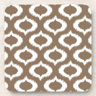 Modern Brown Ikat Diamonds Trendy Beverage Coaster
