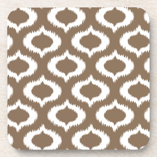 Modern Brown Ikat Diamonds Trendy Coaster