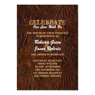 "modern brown leather cowboy boots country wedding 5"" x 7"" invitation card"