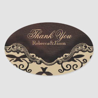 modern brown leather damask country thankyou oval sticker