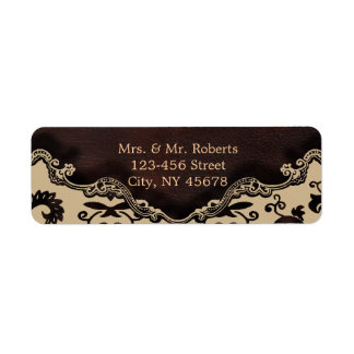modern brown leather damask country wedding label