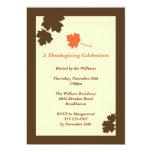 "Modern brown leaves Thanksgiving fall invitation 5"" X 7"" Invitation Card"