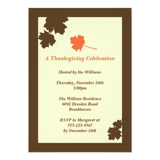 Modern brown leaves Thanksgiving fall invitation