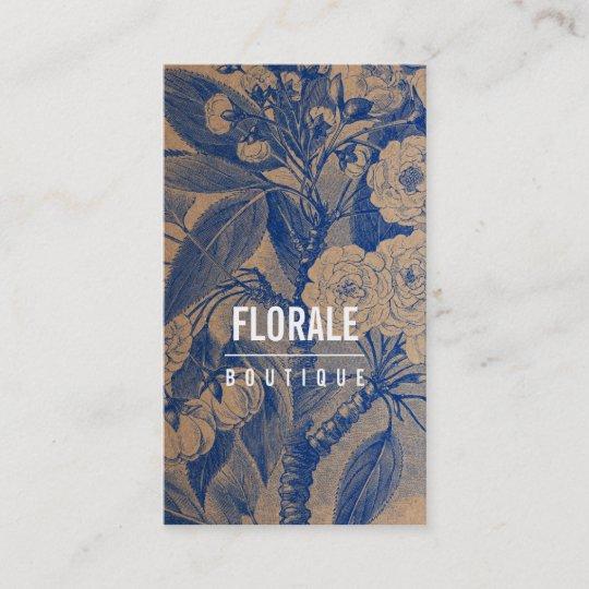 Modern brown paper chic vintage flowers blue paint business card modern brown paper chic vintage flowers blue paint business card colourmoves