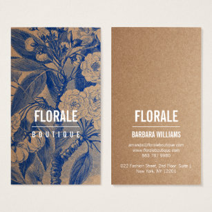Kraft business cards templates zazzle modern brown paper chic vintage flowers blue paint business card reheart Choice Image