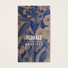 Modern Brown Paper Chic Vintage Flowers Blue Paint Business Card at Zazzle