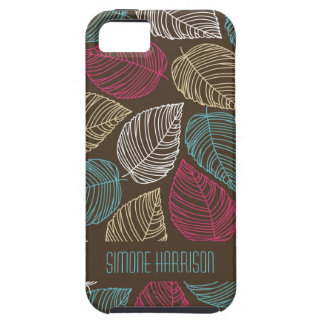 Modern Brown Pink Blue Leaves Pattern Personalized iPhone SE/5/5s Case