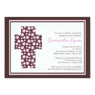 "Modern Brown Pink Cross Girls Baptism Invitation 5"" X 7"" Invitation Card"
