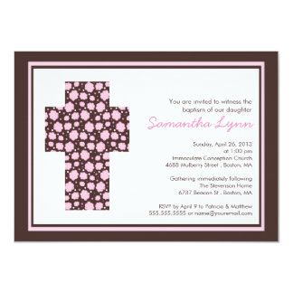 "Modern Brown Pink Cross Girls Baptism Invitation 4.5"" X 6.25"" Invitation Card"