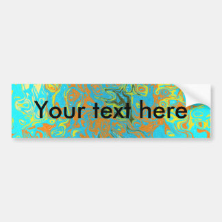 Modern brown psychedelic on light blue background bumper stickers