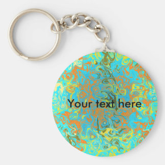 Modern brown psychedelic on light blue background basic round button keychain