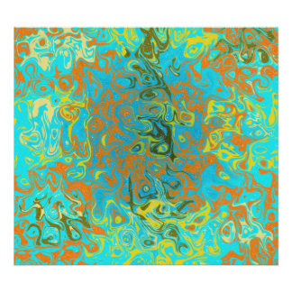 Modern brown psychedelic on light blue background poster