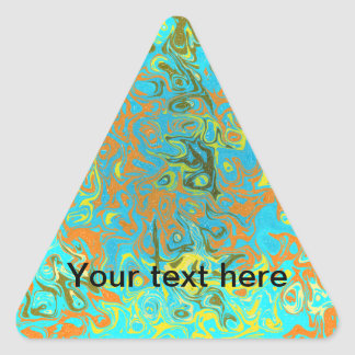 Modern brown psychedelic on light blue background triangle sticker