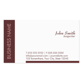 Modern Brown Songwriter Business Card