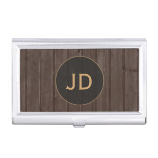 Modern Brown Timber Gold Monogram Business Card Case