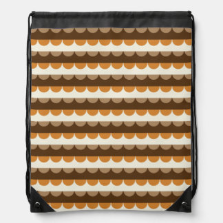 Modern Brown Wavy Stripes Pattern Drawstring Backpack