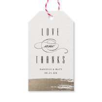 Modern brush faux foil thank you gift tag