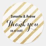 Modern brush gold stripe wedding Thank you Classic Round Sticker