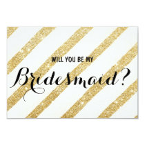 Modern brush gold stripe Will you be my Bridesmaid Invitation