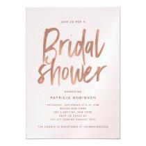 Modern Brush Rose Gold Bridal Shower Card