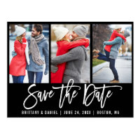 Modern Brush Script 3 Photo Save The Date Blk Postcard