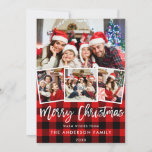 "Modern Brush Script 4 Photo Christmas Red Plaid Holiday Card<br><div class=""desc"">Modern Brush Script 4 Photo Merry Christmas Family Card - Red Plaid</div>"