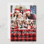 "Modern Brush Script 4 Photo Christmas Red Plaid Holiday Card<br><div class=""desc"">Modern Brush Script 4 Photo Merry Christmas Family Card - Red Plaid</div>"