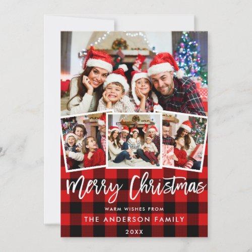 Modern Brush Script 4 Photo Christmas Red Plaid Holiday Card