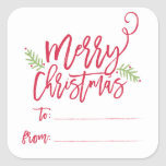 """Modern Brush Script Bright Christmas Gifts Sticker<br><div class=""""desc"""">Make a stunning statement this holiday season with this stylish gift sticker featuring """"Merry Christmas"""" in a brush script font. Shop our online store for more pieces in this design!</div>"""