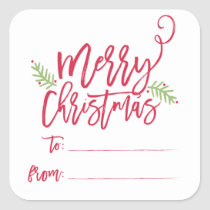 Modern Brush Script Bright Christmas Gifts Sticker