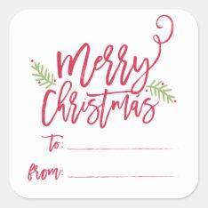 Modern Brush Script Bright Christmas Gifts Sticker at Zazzle