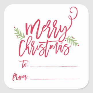 Modern Brush Script Bright Christmas Gifts Sticker