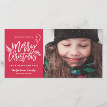 Modern Brush Script Bright Christmas Holiday Photo
