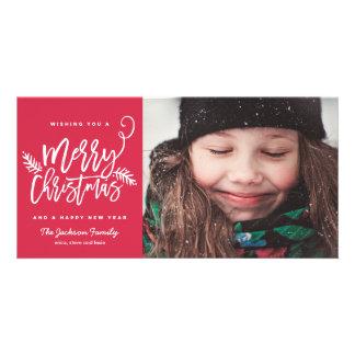Modern Brush Script Bright Christmas Holiday Photo Card