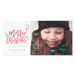 Modern Brush Script Bright Christmas Holiday Photo Card