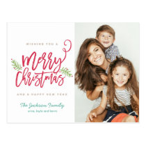 Modern Brush Script Bright Christmas Holiday Photo Postcard