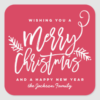 Modern Brush Script Bright Christmas Holiday Red Square Sticker