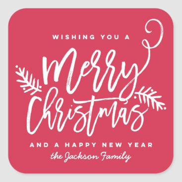 Christmas Themed Modern Brush Script Bright Christmas Holiday Red Square Sticker