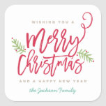"""Modern Brush Script Bright Christmas Square Sticker<br><div class=""""desc"""">Make a stunning statement this holiday season with this stylish holiday sticker featuring """"Merry Christmas"""" in a brush script font. Shop our online store for more pieces in this design!</div>"""