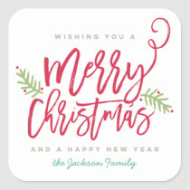 Modern Brush Script Bright Christmas Square Sticker