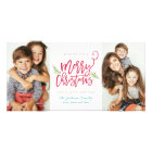 Modern Brush Script Christmas Holiday 2-Photo Card