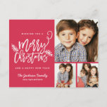 "Modern Brush Script Christmas Holiday 3-Photo<br><div class=""desc"">Make a stunning statement this holiday season with this stylish holiday 3-photo post card featuring &quot;Merry Christmas&quot; in a brush script font. Personalize the back with your address,  photo and custom sentiment. Shop our online store for more pieces in this design! Available in additional colors.</div>"