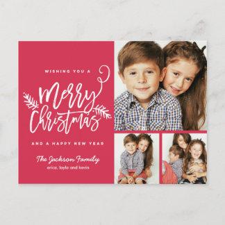 Modern Brush Script Christmas Holiday 3-Photo