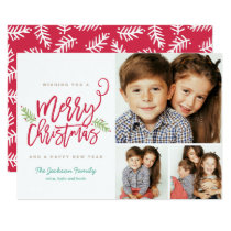Modern Brush Script Christmas Holiday 3-Photo Card