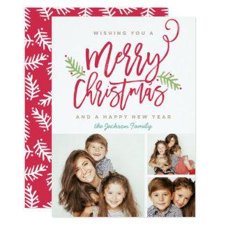 Modern Brush Script Christmas Holiday 3-Photo Card