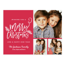 Modern Brush Script Christmas Holiday 3-Photo Postcard