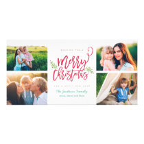 Modern Brush Script Christmas Holiday 4-Photo Card