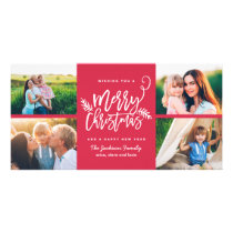Modern Brush Script Christmas Holiday 4-Photo Red Card