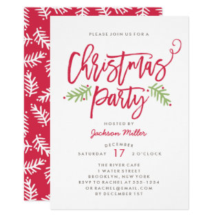 Modern Brush Script Christmas Holiday Party Card at Zazzle