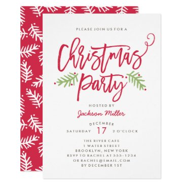 Christmas Themed Modern Brush Script Christmas Holiday Party Card